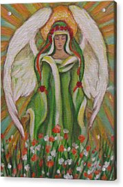 Angel In The Garden Acrylic Print by Radha Flora Cloud