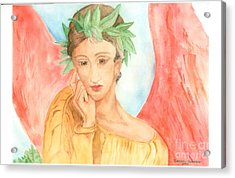Angel In Thought Acrylic Print by Delores Swanson