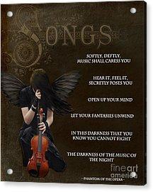Angel Of Music Acrylic Print by Serena Ballard