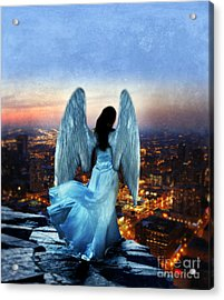 Angel On Rocky Ledge Above City At Night Acrylic Print by Jill Battaglia