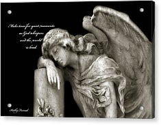 Angel Resting On Post Inspirational Angel Art Acrylic Print by Kathy Fornal
