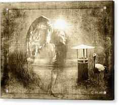 Angel Spirit Sepia Acrylic Print by Yvon van der Wijk