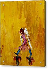 Angel With Cowboy Boots Acrylic Print by Judy Mackey
