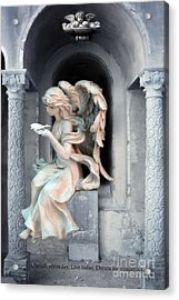 Angel With Dove Of Peace - Beautiful Angel Art Acrylic Print by Kathy Fornal