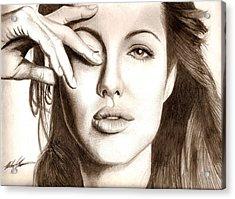 Angelina Jolie Acrylic Print by Michael Mestas