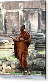 Acrylic Print featuring the photograph Angkor Wat Monk by Nola Lee Kelsey