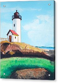Aninisquam Harbor Light Acrylic Print by Anthony Ross