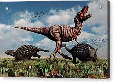 Ankylosaurus Dinosaurs Defend Acrylic Print