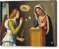 Annunciation To The Virgin Acrylic Print by Giovanni Battista Cima da Conegliano