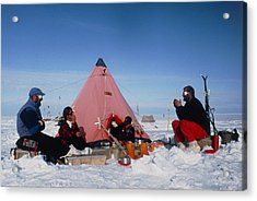 Antarctic Research Team Relaxing Outside Tent Acrylic Print by David Vaughan