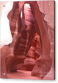 Antelope Slot Canyon View Just Inside Entrance Acrylic Print by Merton Allen