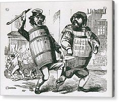 Anti-immigrant Cartoon Showing Two Men Acrylic Print by Everett