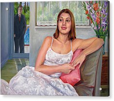 Acrylic Print featuring the painting Anticipation - Jasmin Contemplates The Prom by Nancy Tilles