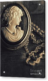 Antique Cameo Medallion On Wood Acrylic Print by Sandra Cunningham