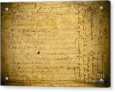 Antique Document Acrylic Print by Dave & Les Jacobs