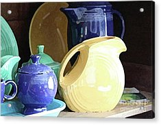 Antique Fiesta Dishes II Acrylic Print by Marilyn West