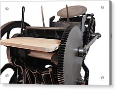 Antique Letterpress On White Acrylic Print by Ruby Hummersmith