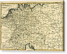 Antique Map Of Germany Bohemia And Hungary With Part Of Poland Acrylic Print by Guillaume Raynal