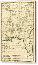 Antique Map Of Louisiana And Florida Acrylic Print by Guillaume Raynal