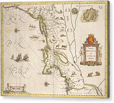 Antique Map Of New Belgium And New England Acrylic Print by Joan Blaeu