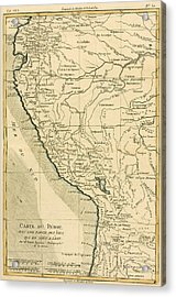 Antique Map Of Peru Acrylic Print by Guillaume Raynal