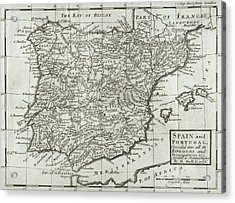 Antique Map Of Spain And Portugal Acrylic Print