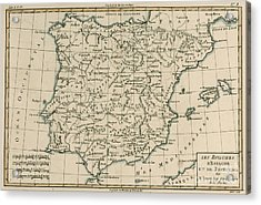 Antique Map Of Spain Acrylic Print by Guillaume Raynal