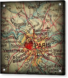 Antique Map With A Heart Over The City Of Paris In France Acrylic Print by ELITE IMAGE photography By Chad McDermott