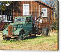 Antique Tow Truck Textured Acrylic Print by Barbara Bowen