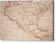Antique World Map Acrylic Print by Ron Chapple