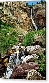 Apikuni Falls Acrylic Print by Greg Norrell