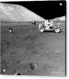 Apollo 17 Image Of Land Rover On Moon Acrylic Print by Stocktrek Images
