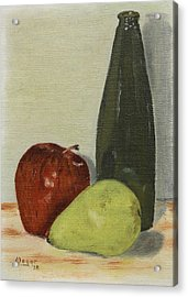 Apple And Pear Acrylic Print by Alan Mager