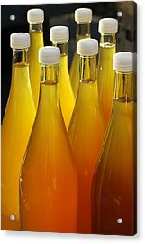 Apple Juice In Bottles Acrylic Print by Matthias Hauser