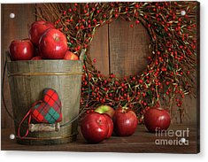 Apples In Wood Bucket For Holiday Baking Acrylic Print by Sandra Cunningham