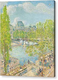 April On The Quai Voltaire In Paris Acrylic Print by Childe Hassam