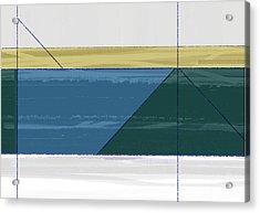 Aqua Green Triangles Acrylic Print by Naxart Studio