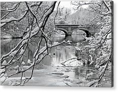 Arch Bridge Over Frozen River In Winter Acrylic Print by Enzo Figueres