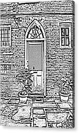 Arched Doorway French Quarter New Orleans Photocopy Digital Art Acrylic Print by Shawn O'Brien