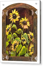 Arched Sunflowers With Gold Leaf By Vic Mastis Acrylic Print by Vic  Mastis