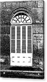 Arched White Shuttered Window French Quarter New Orleans Photocopy Digital Art  Acrylic Print by Shawn O'Brien