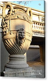 Architectural Detail . Large Urn With Lion Gargoyle  . Hearst Gym . Uc Berkeley . 7d10197 Acrylic Print by Wingsdomain Art and Photography