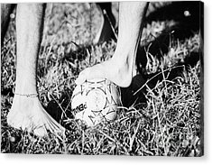 Argentinian Hispanic Men Start A Football Game Barefoot In The Park On Grass Acrylic Print