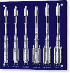 Ariane 4 Rocket Versions, Artwork Acrylic Print by David Ducros