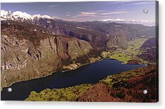 Acrylic Print featuring the photograph Ariel View Of Lake Bohinj Slovenia by Graham Hawcroft pixsellpix