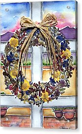 Arizona Wildflower Wreath Acrylic Print by Regina Ammerman