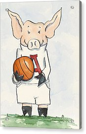 Arkansas Razorbacks - Basketball Piggie Acrylic Print by Annie Laurie
