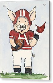 Arkansas Razorbacks - Football Piggie Acrylic Print by Annie Laurie