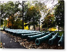 Army Cannons In A Row Acrylic Print by Army Athletics