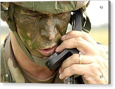 Army Master Sergeant Communicates Acrylic Print by Stocktrek Images